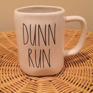 "Rae Dunn ""Dunn Run"" ceramic mug."
